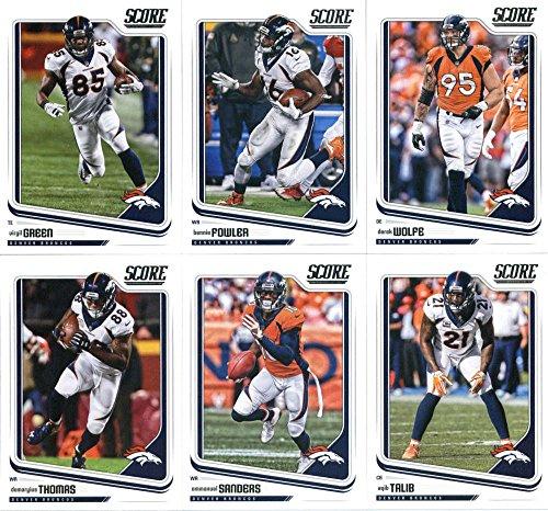 2018 Score Denver Broncos Veteran Team Set of 10 Cards: Trevor Siemian(#94), Paxton Lynch(#95), Von Miller(#96), C.J. Anderson(#97), Demaryius Thomas(#98), Emmanuel Sanders(#99), Aqib Talib(#100), Virgil Green(#101), Bennie Fowler(#102), Derek Wolfe(#103) -