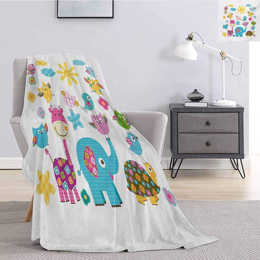 Tr.G Nursery Bedding Microfiber Blanket Cute Animals Cartoon Style Happy Dancing Animals Elephant Birds Owls Super Soft and Comfortable Luxury Bed Blanket W55 x L55 Inch Sky Blue Pink Marigold