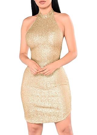 0053b9e1e9 Romacci Sexy Women Sequin Sleeveless Halter Dress Bling Glitter Slim Party  Dress Nightclub Mini Dress