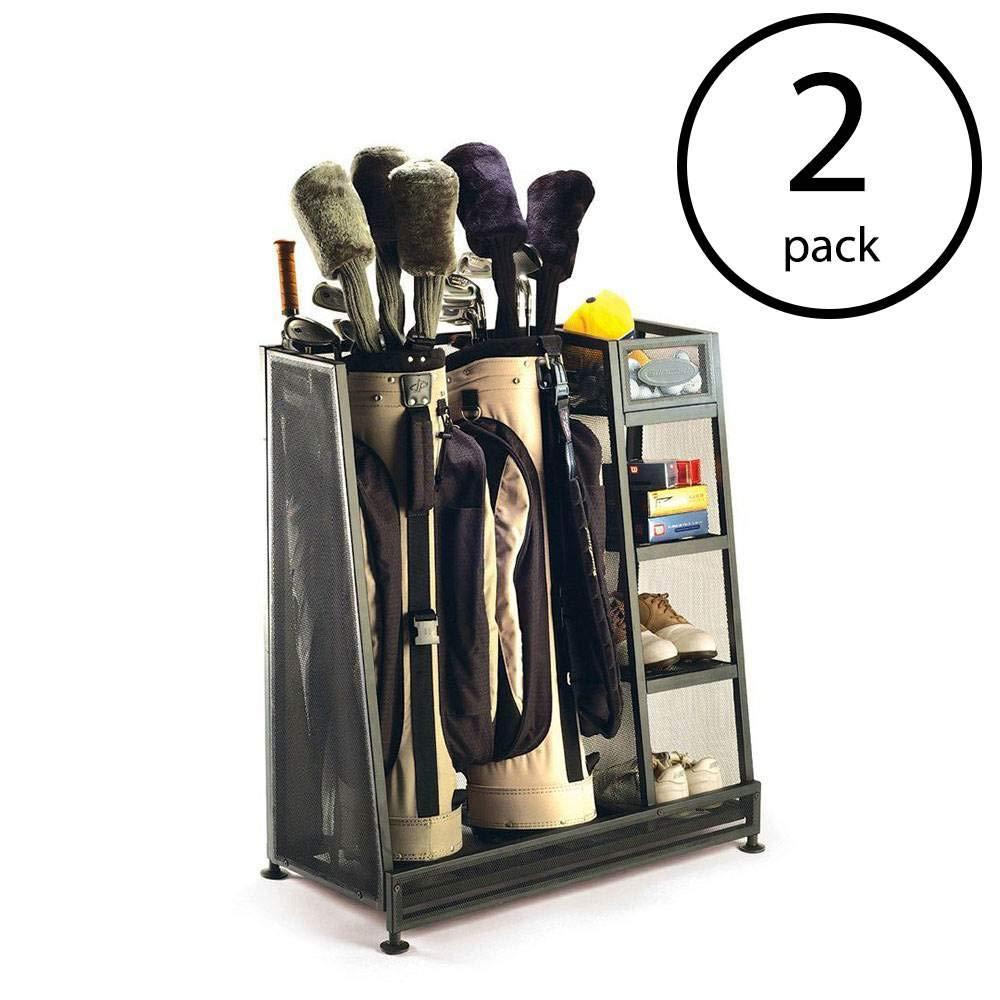 Suncast Metal Complete Golf Bag Organizer for Garage w/Shelves & Bin (2 Pack)