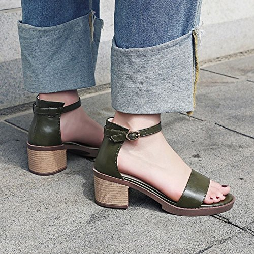 RAZAMAZA Mujer Moda Correa de Tobillo Tacon Medio Sandalias Simple Tacon Ancho Zapatos Ejercito verde