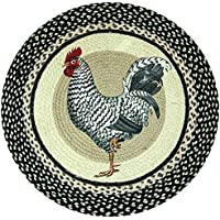 Earth Rugs RP-430 Rooster Printed Rug, 27, Black/Ivory/Crème