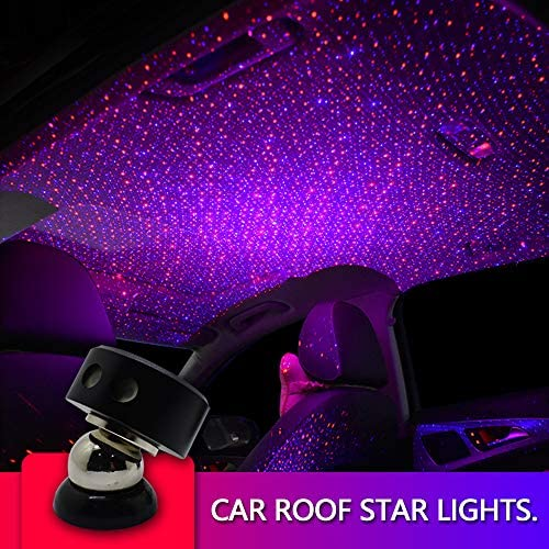Auto Roof Ceiling Decoration Colourful LED Star Night Lights Projector Atmosphere Lamp Car Top Ceiling Star Lights Armrest Box Interior Ambient Atmosphere for Car Home Party Red Blue