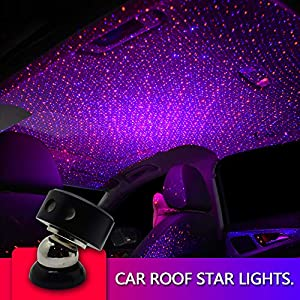 picture of Auto Roof Ceiling Decoration Colourful LED Star Night Lights Projector Atmosphere Lamp Car Top Ceiling Star Lights Armrest Box Interior Ambient Atmosphere for Car/Home/Party (Red+Blue)