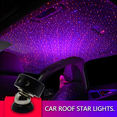 Auto Roof Ceiling Decoration Colourful LED Star Night Lights Projector Atmosphere Lamp Car Top Ceiling Star Lights Armrest Box Interior Ambient Atmosphere for Car/Home/Party (Red+Blue)