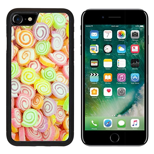 Jelly Bowl Fruit Flavors (Luxlady Premium Apple iPhone 7 Aluminum Backplate Bumper Snap Case iPhone7 IMAGE ID: 25728220 Assortment of colorful fruit jelly candy)
