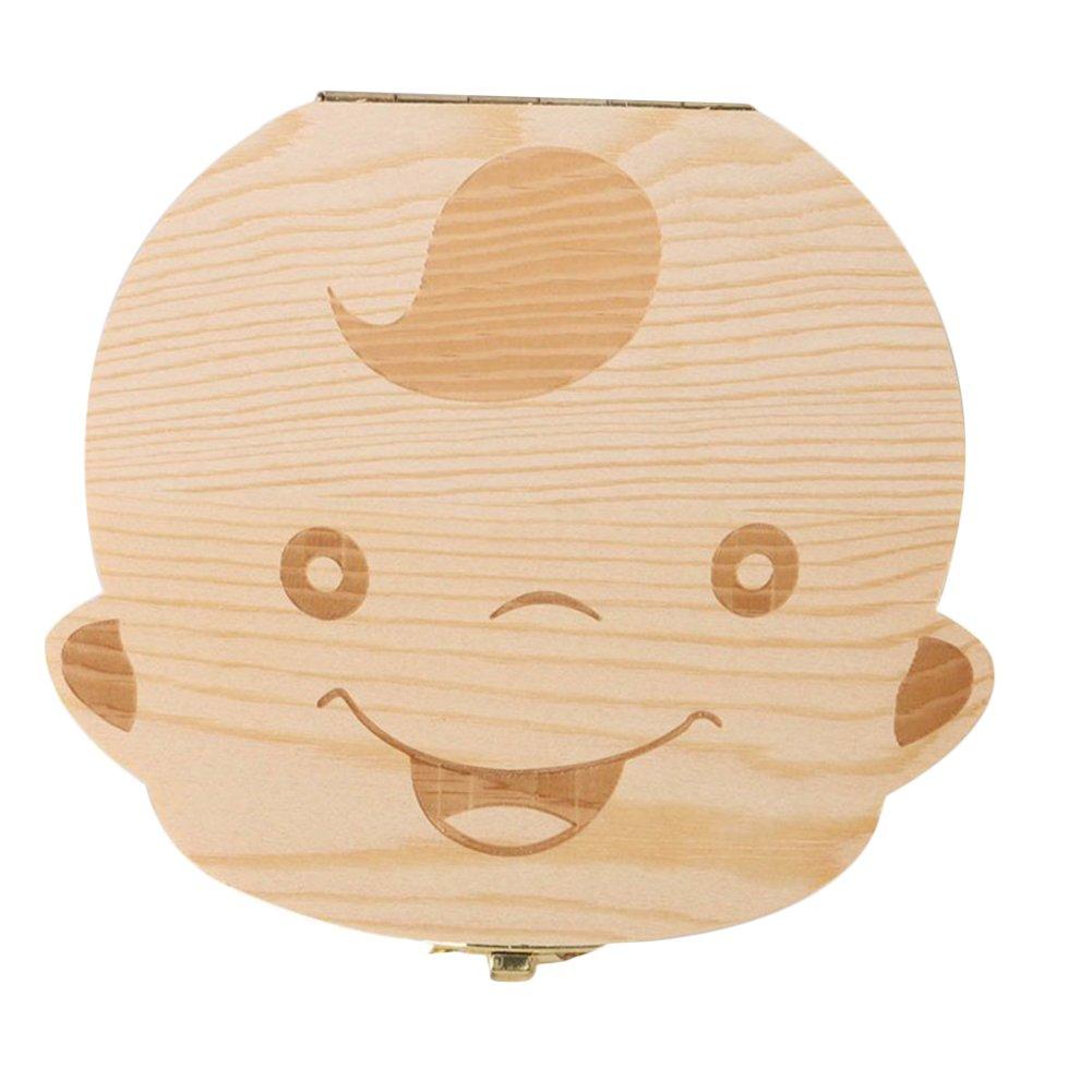 Topbeu Wood Tooth Box Organizer Milk Teeth Wood Case Storage for Kids Boy & Girl (Boy)