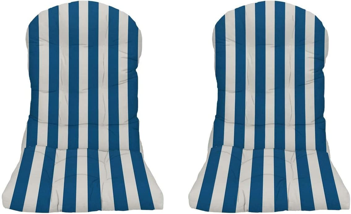 RSH Decor – Indoor Outdoor Tufted Adirondack Chair Seat Cushion Made with Blue Cobalt White Cabana Stripe Fabric
