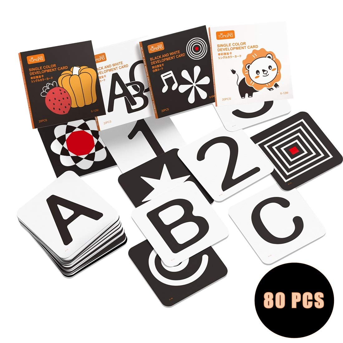 Upgraded 2020 TUMAMA Baby Black White Flash Cards, High Contrast Visual Stimulation Learning Flashcards, Learning Alphabet Shapes Color Cards for Toddlers, Baby Toys Gift for 0 3 6 9 12 Months(80 Pcs)