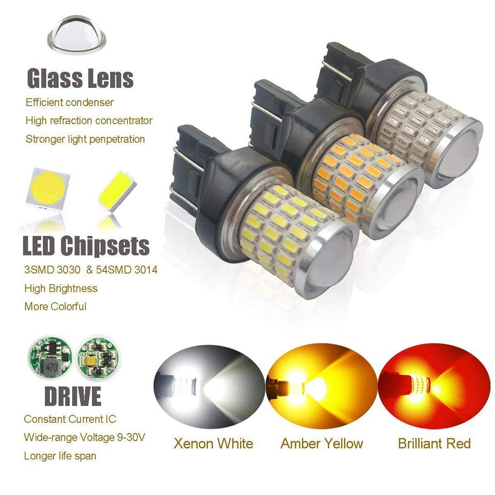 Bobury 2PCS 7743 3030/3014 54SMD White Light High Birghtness Car Parking Lights Running Backup Reverse LED Bulb by Bobury (Image #4)