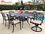 Coastlink Furniture Table & Chair Designs – Elise Cast Aluminum Patio 7-Piece Dining Set with 42″ x 72″ Oval Table and SUNBRELLA Premium Cushions