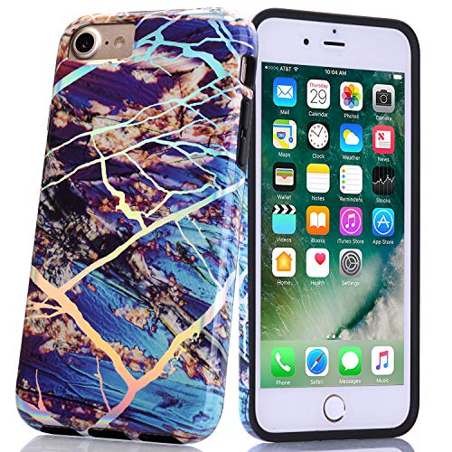 BAISRKE Shiny Laser Style Gold Blue Marble Design Bumper TPU Soft Rubber Silicone Cover Phone Case Compatible with iPhone 7 / iPhone 8 / iPhone 6 6s [4.7 inch]