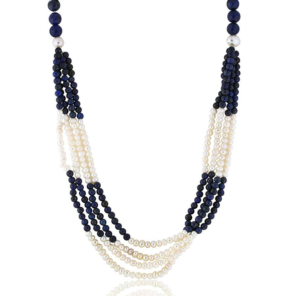 Gem Stone King 4-Row Dark Blue Lapis & Cultured Freshwater Pearls Necklace 18''+ 2'' Extension
