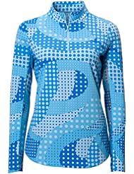 Icikuls Sport Womens Neon Dots Long Sleeve Mock