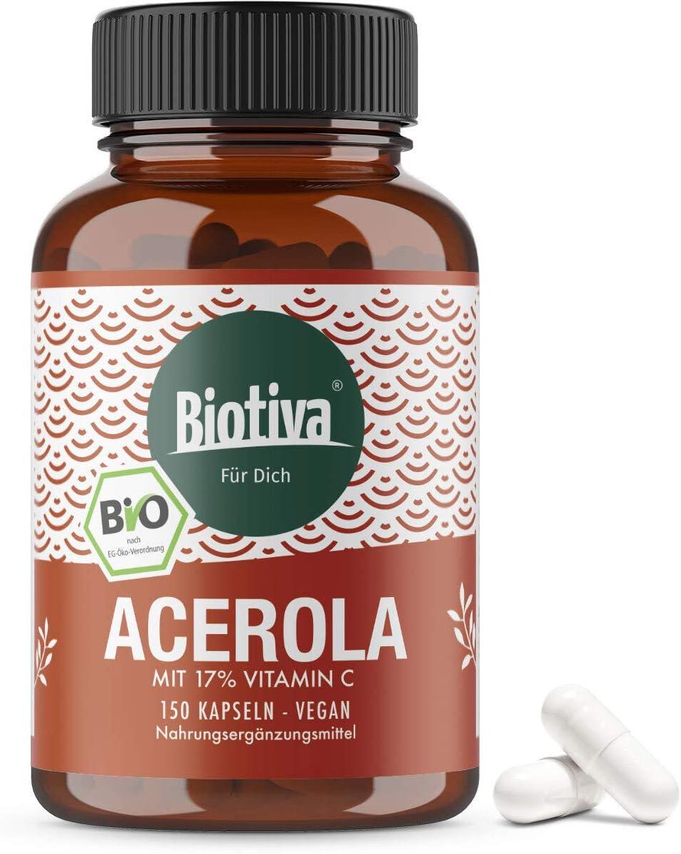 Vitamina C de acerola orgánica - 150 cápsulas - vegetal, natural, altamente dosificado - vegano - embotellado en Alemania (DE-ÖKO-005)