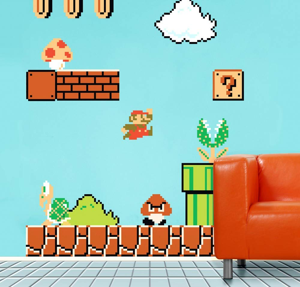 Molywell XXL Super Mario Bros Cartoon Wall Decals Peel and Stick Kids Bedroom Wall Sticker Removable