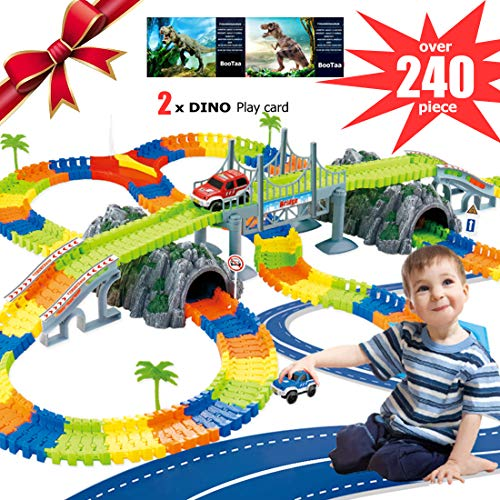 BooTaa 240pcs Car Tracks Set for Kids,Dinosaur Tracks,Jurassic World Toys,Flexible Race Tracks Set,Creat A Road,Party Game Playset,Gift for Kids Toddler 3/4/5/6 Years Old Boy & Girls -