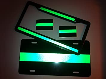Superior Thin Green Line Reflective License Plate, Frame, Decal Package