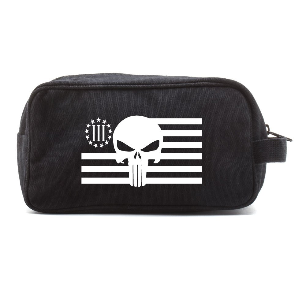 Punisher Skull Three Percenter US Flag Dual Compartment Toiletry Bag Black & Wh
