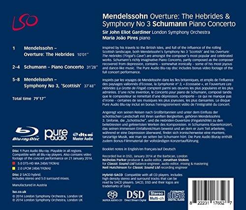 Mendelssohn: Symphony No.3 'Scottish'; Hebrides Overture / Schumann: Piano Concerto (Bonus Blu-Ray audio/video disc) by CD (Image #1)