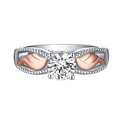 LAND-FOX Anillo de compromiso de anillos de plata anillo de diamantes de la nueva