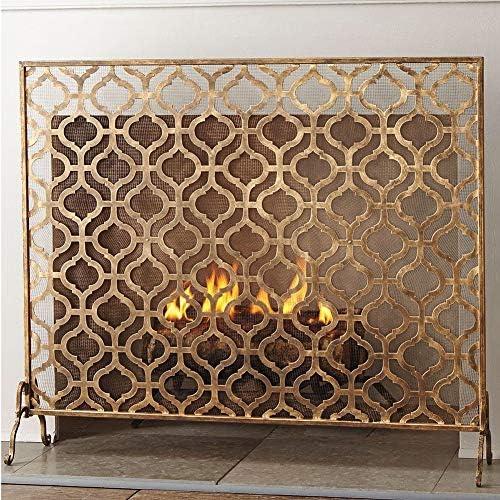 シングルパネル手作りのアイアンシェブロン暖炉スクリーン、苦しめられたアンティーク銅仕上げ、屋内屋外、子供ペット火花保護、93×76 cm