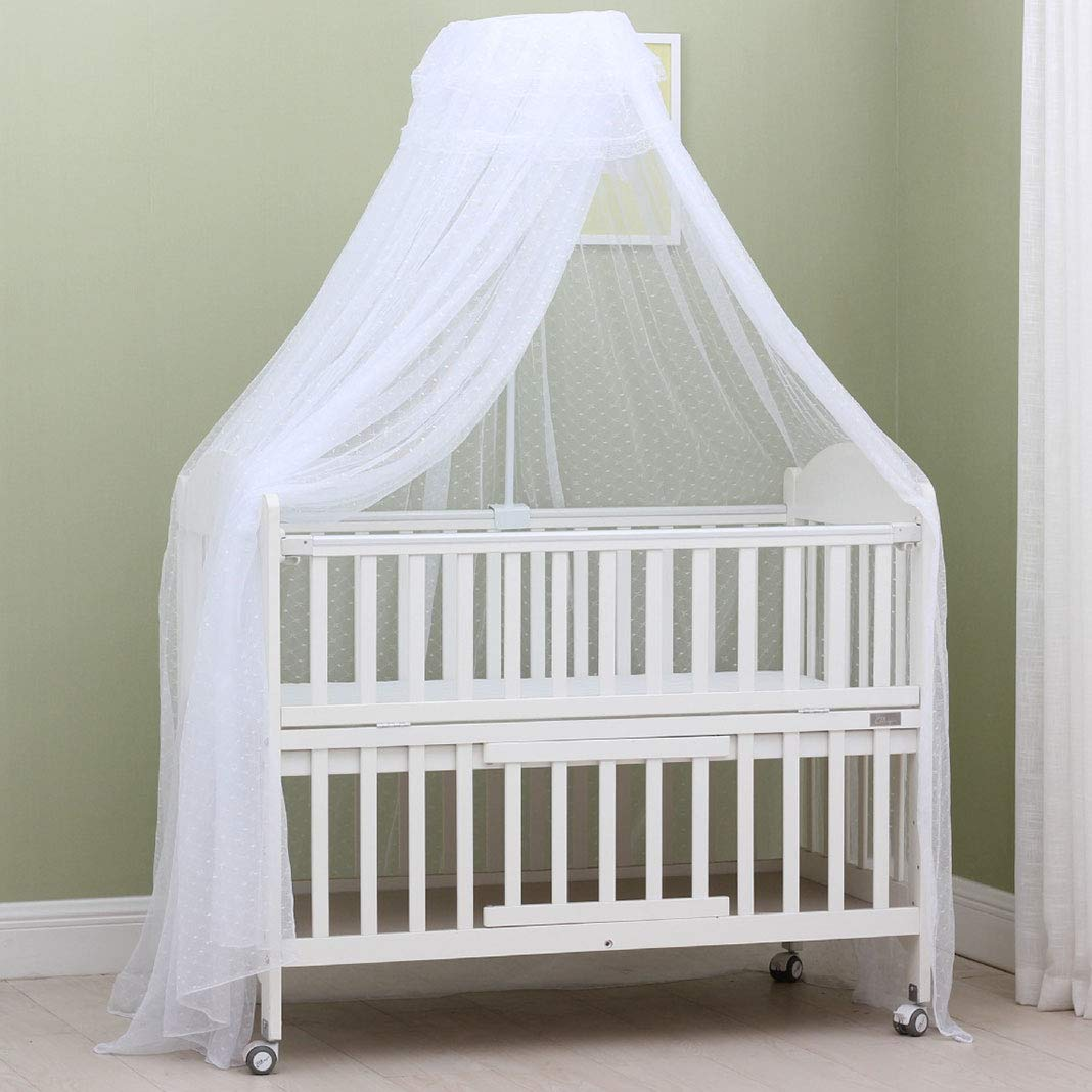 Mosqutio Net for Crib Baby Cot Bed Canopy Dome Drape Kid's Bed Netting Fly Insect Protection with Clamp Holder/Rod/Stand Heart,White
