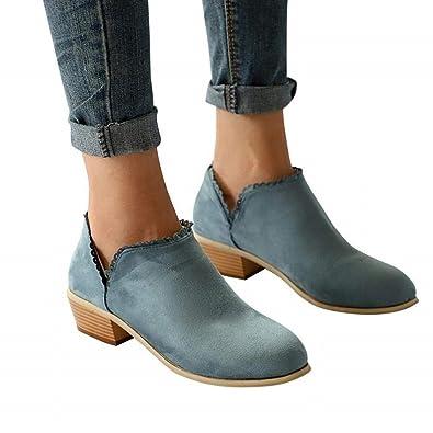 Hafiot Chelsea Boots Damen Stiefeletten Kurzschaft Blockabsatz Leder  Wildleder mit Absatz Kurze 3cm Stiefel Suede Winter 4b58f64be7