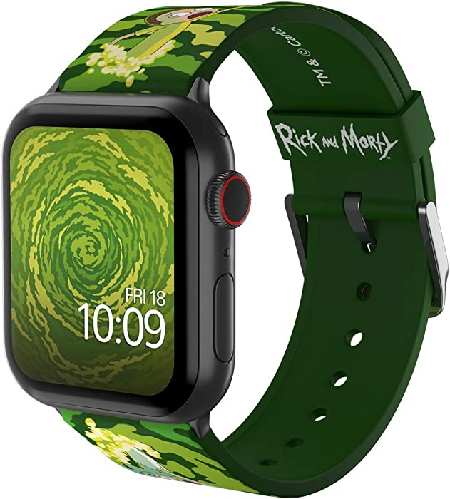Rick and Morty - Open Portal Edition – Officially Licensed Silicone Smartwatch Band Compatible with Apple Watch, Fits 38mm, 40mm, 42mm and 44mm