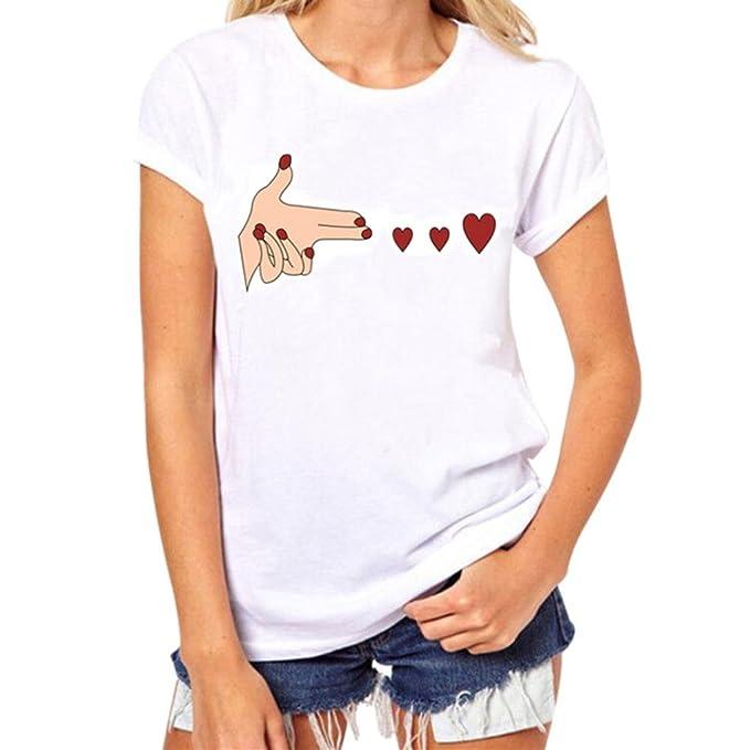 Paellaesp Camiseta para Mujer,Manga Corta Camisetas Algodón Corazón Impresión T Shirt Blusas Camisas Tops