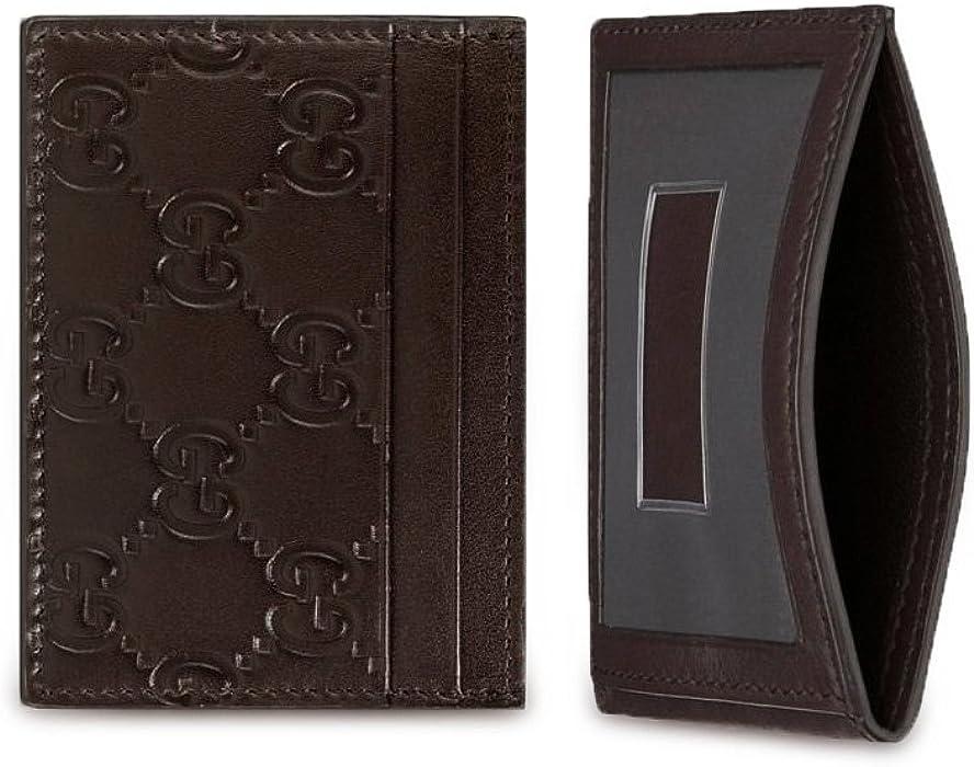 a041da50966161 Gucci Signature GG Guccissima Leather Train Pass Card Case ID Wallet, Brown