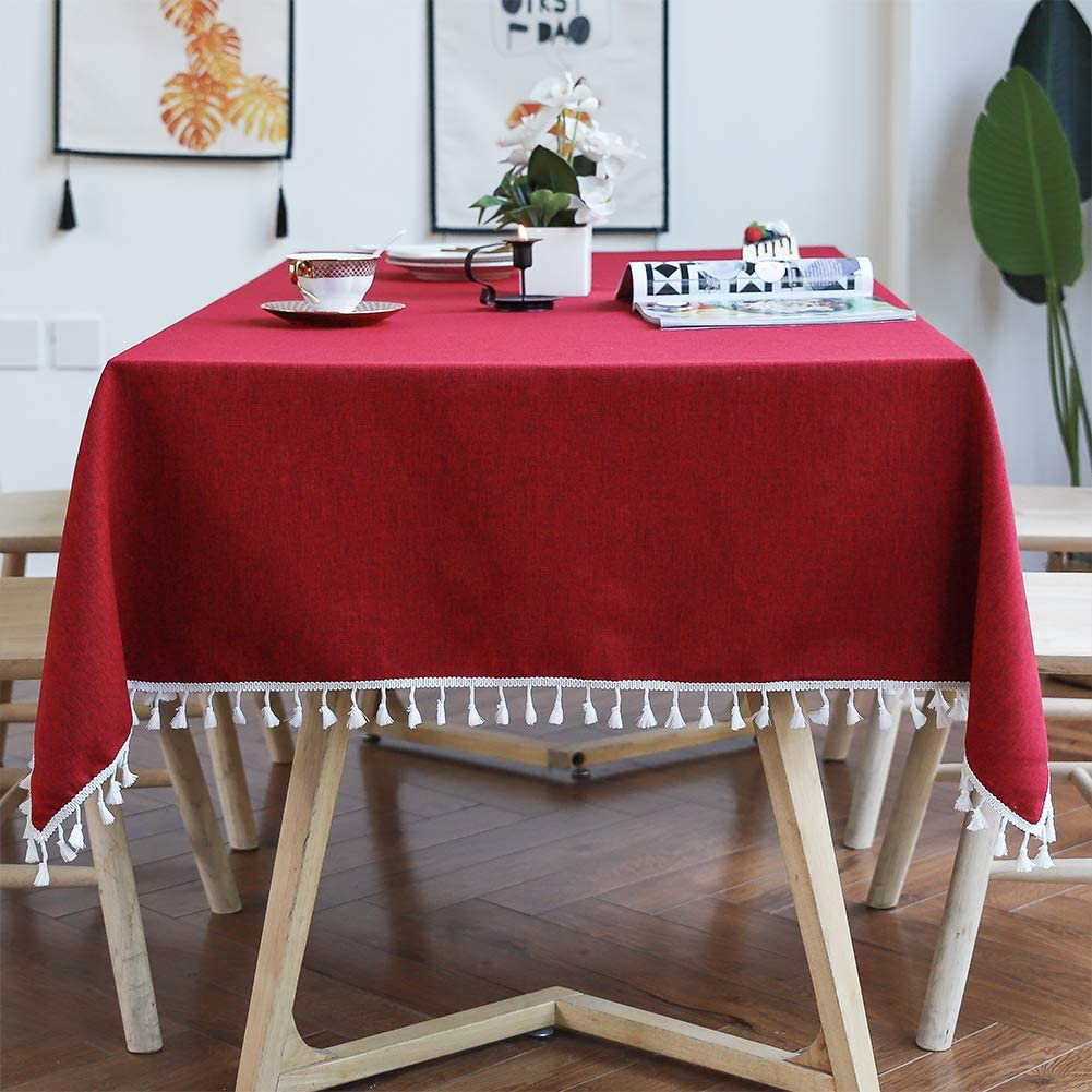 Smiry Embroidery Tassel Tablecloth - Cotton Linen Dust-Proof Table Cover for Kitchen Dining Room Party Home Tabletop Decoration (Rectangle/Oblong, 55 x 86 Inch, Burgundy)