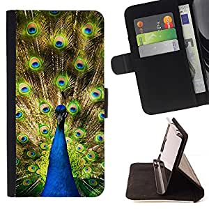 Momo Phone Case / Flip Funda de Cuero Case Cover - Peacock coloridas plumas de cola Selva Big Bird - HTC One M7