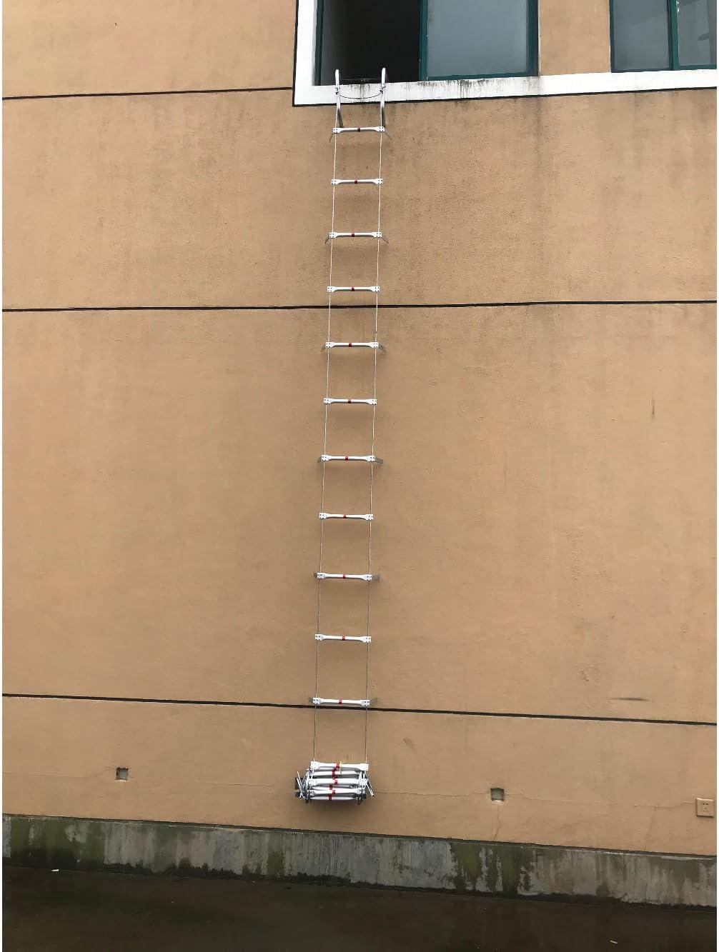 FIREDUXYL Escalera De Emergencia, Escaleras Suaves Plegables portátiles del Alambre de Acero de aleación de Aluminio, Trabajo en Altura, Ingeniería de la Construcción,15m: Amazon.es: Hogar