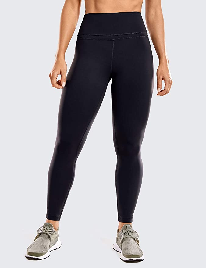 CRZ YOGA Mujer Naked Feeling Deportivos 7/8 Leggings Yoga Fitness Pantalon de Cintura Alta con Bolsillos-63cm