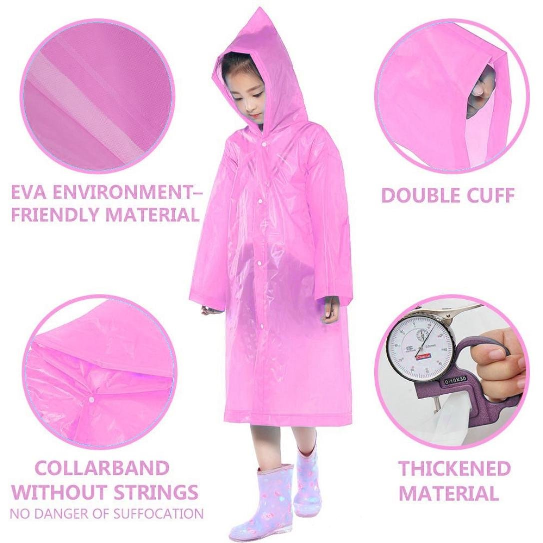 Tpingfe Portable Reusable Raincoats Children Rain Ponchos For 6-12 Years Old, 1PC (Pink) by Tpingfe (Image #5)