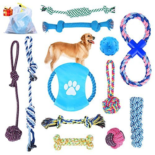 Opuss Puppy ChewToys Puppy Toys Dog Rope Toys Puppy Toys Rope Puppy Chew Toys Teething Dog Chew Toy Cotton Puppy Chew Toy Dog Toys Rope Durable Pets Dog Toy Sets of 12 ()