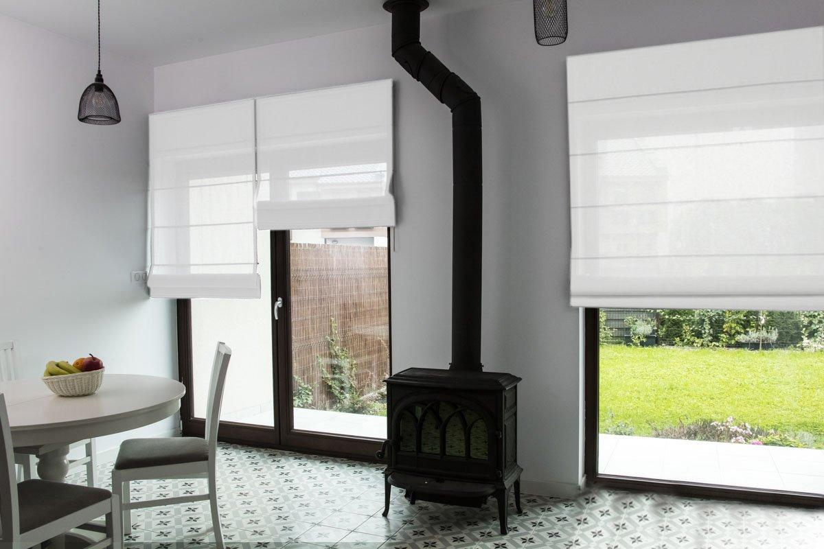 Raffrollo nach Maß, hochqualitative Wertarbeit, alle Größen verfügbar, für Fenster und Türen, Maßanfertigung, Befestigung durch Schrauben an Wand oder Decke (140cm Höhe x 185cm Breite   Weiß)
