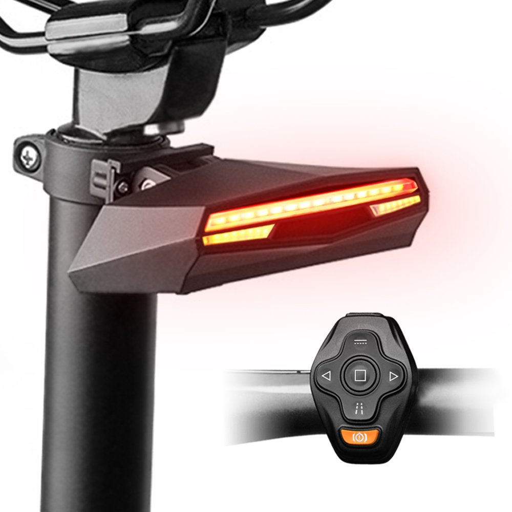 Omnicare Bike Tail Light, USB Rechargeable Waterproof LED Flashlight Bicycle Taillights Set, Remote Control Turning Light, Ground Lane Alert, Brake Light, Easy Install for Cycling Safety Light Rear