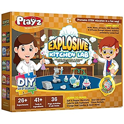 Playz Explosive Kitchen Lab 26+ Physics, Chemistry & Biology Science Experiments Set - Make Salt & Pepper Electricity, Sour LED Lights, Colorful Milk Explosions, Citrus Rockets, & Orange Peel Candles: Toys & Games
