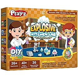 Playz Explosive Kitchen Lab 26+ Physics, Chemistry & Biology Science Experiments Set - Make Salt & Pepper Electricity, Sour LED Lights, Colorful Milk Explosions, Citrus Rockets, & Orange Peel Candles