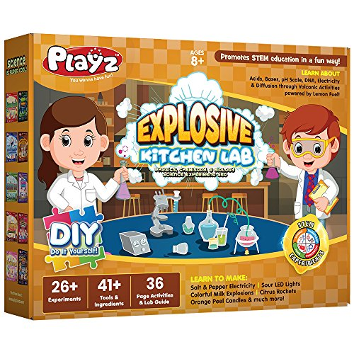 Engineering Experiment Station - Playz Explosive Kitchen Lab 26+ Physics, Chemistry & Biology Science Experiments Set - Make Salt & Pepper Electricity, Sour LED Lights, Colorful Milk Explosions, Citrus Rockets, & Orange Peel Candles
