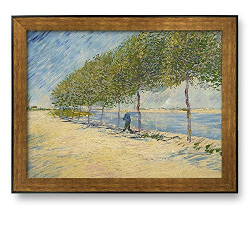 Along the Seine by Vincent Van Gogh Framed Art Print Famous Painting Wall Decor Bronze and Black Frame