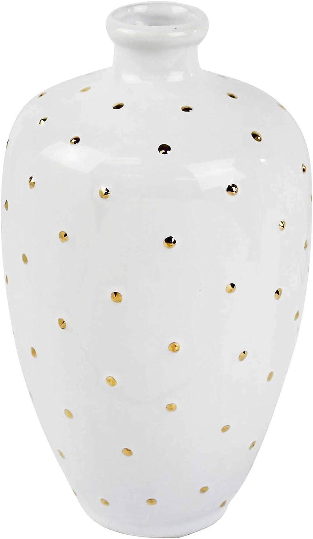 Sagebrook Home, White Decorative Ceramic VASE, 5.5x5.5x9.5