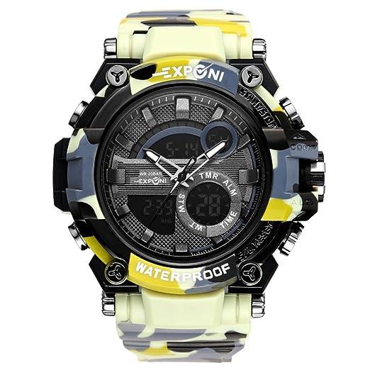 Reloj Deportivo Digital Pantalla LED Relojes Militares de Gran Cara y cronómetro Impermeable Luminoso Casual Impermeable