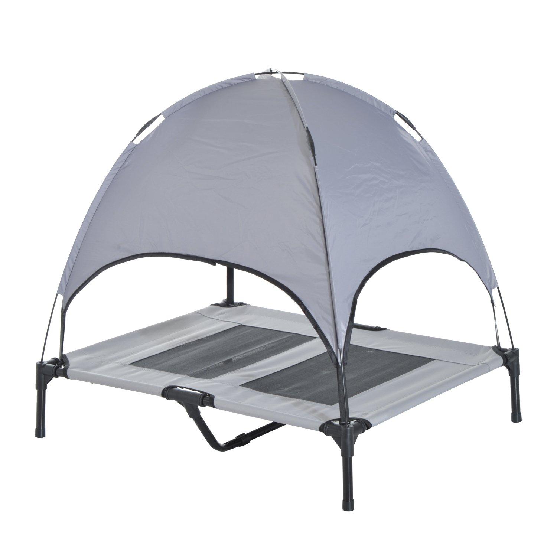 Grey PawHut D04-060 Elevated Pet Bed Dog Cot 48 L X 36 W X 48 H