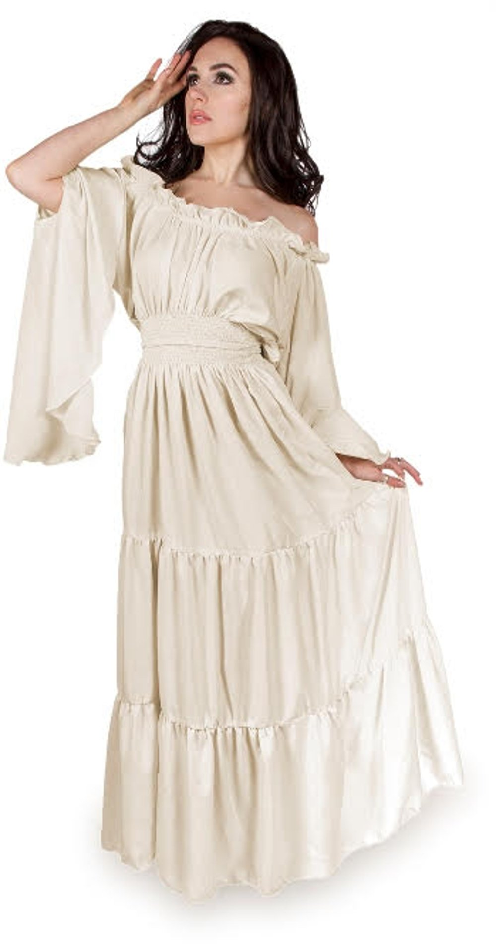 Renaissance Medieval Costume Mythic Mystic Forest Sword Mistress Chemise Dress OS (Cream)