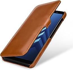 StilGut Book Type Case, Custodia per Samsung Galaxy A8 (2018) a Libro Booklet in Vera Pelle, Cognac con Clip