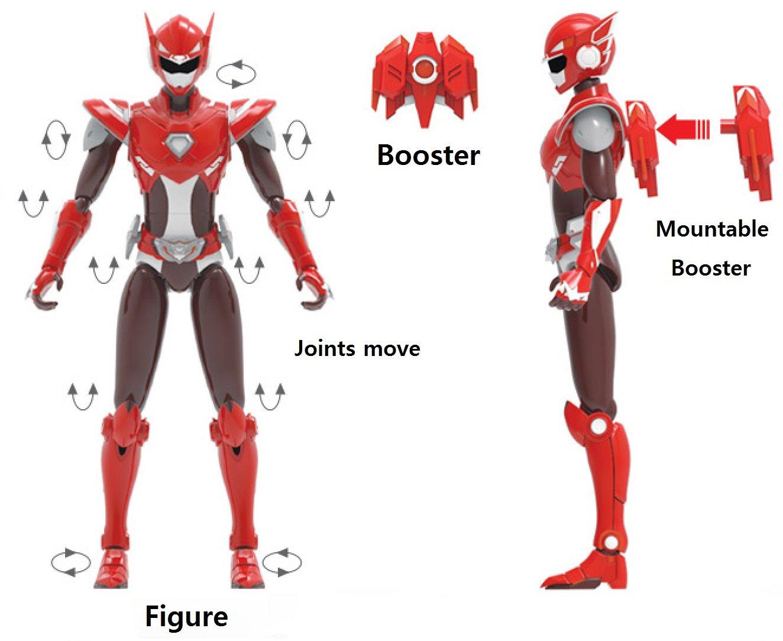 MINI FORCE 2018 New Version Miniforce X Semi Korean Robot Action Figure Red 6.9 Joints Move Gaia