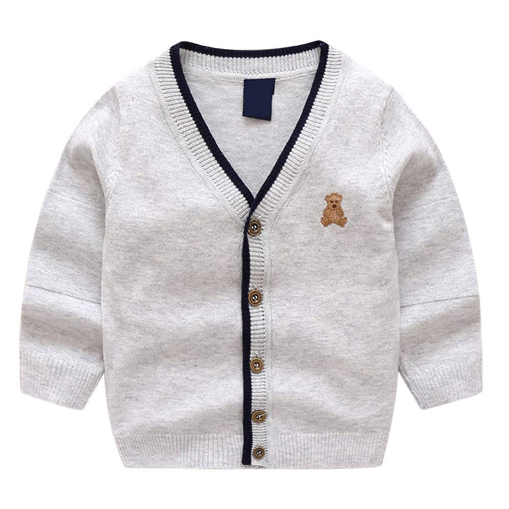 AIRSA Little Boys Knit Sweater Kids Button Knitting Cardigan V-Neck Knit Tops
